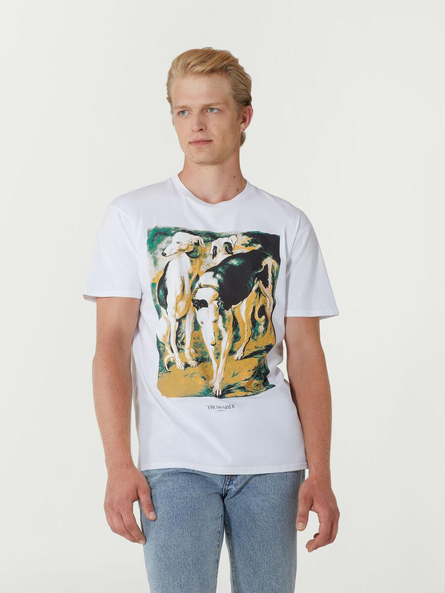 T-shirt close fit in puro cotone con stampa