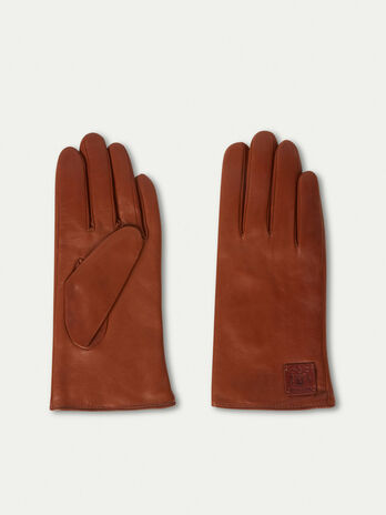 Nappa leather gloves with branded patch