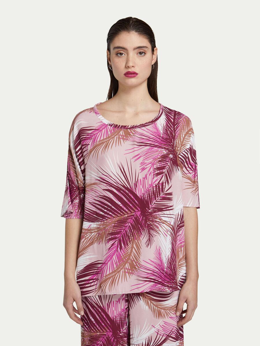 Blusa in crepe de chine con stampa di palme