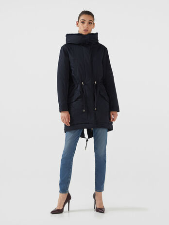 Parka in gabardina di misto cotone regular fit
