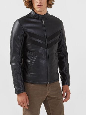 Regular fit biker jacket in soft faux leather