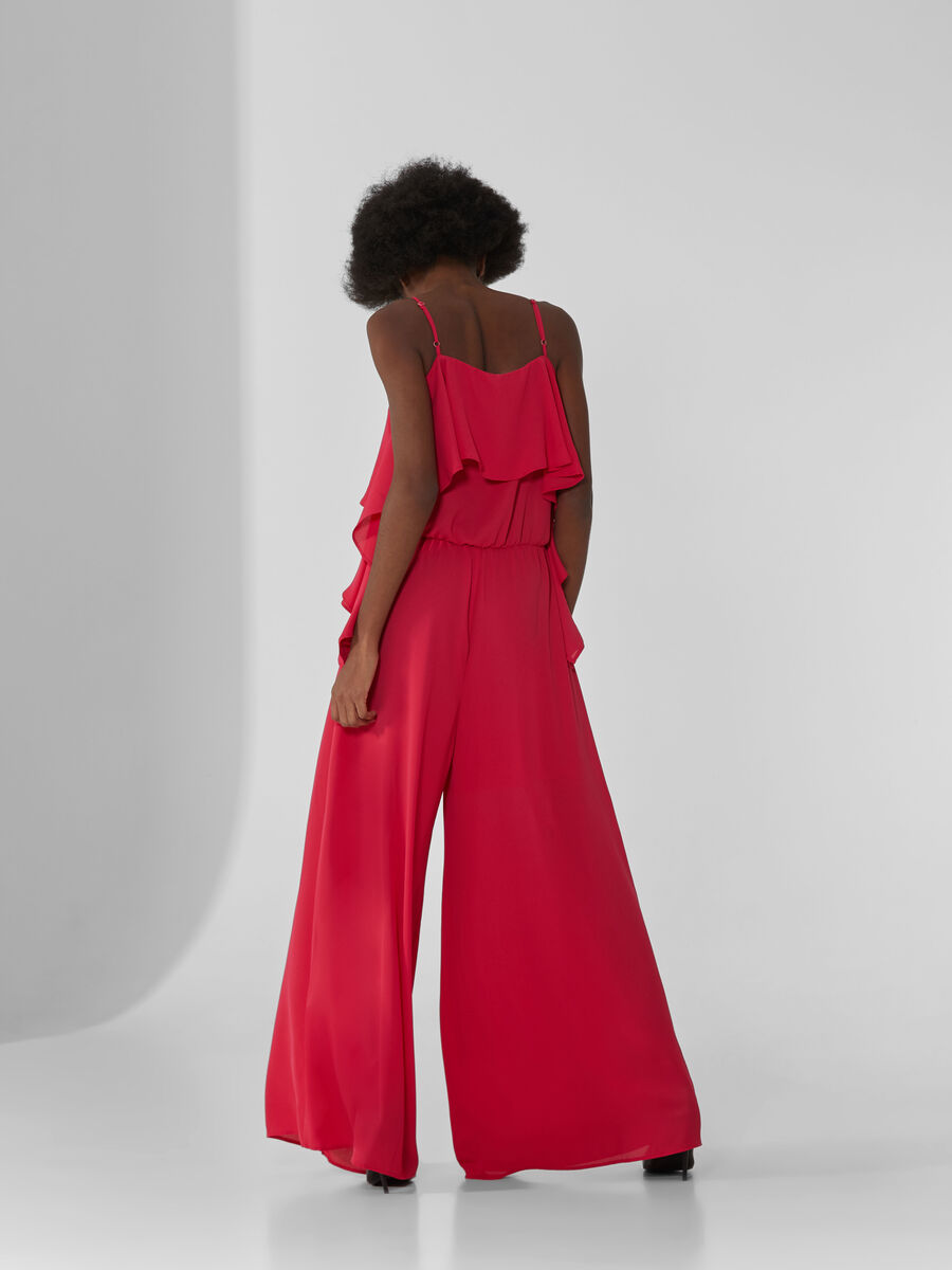 Double Georgette jumpsuit with ruffled detailing