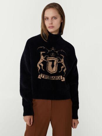 Pullover cropped con logo a contrasto