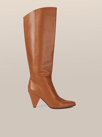 Leather boots with cone heel