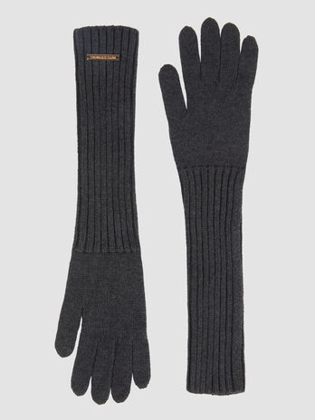 Mid length gloves in a ribbed cashmere blend