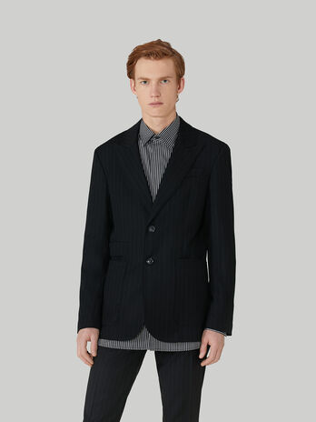 Regular-fit pinstripe-fabric blazer