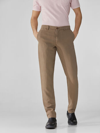 Linen-blend aviator-fit trousers