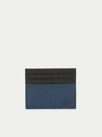 Porta carte di credito in pelle con stampa bicolor