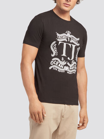 Einfarbiges T Shirt mit Logo Print