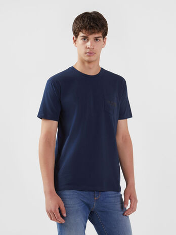 T-shirt in jersey stretch con taschino logato