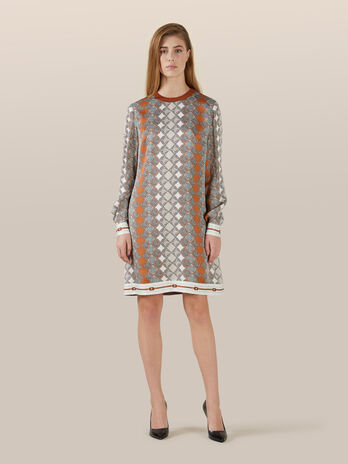 Minidress aus Seide mit Allover Print