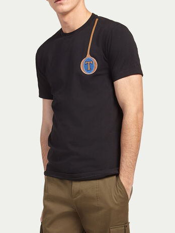 Stretch jersey T shirt with logo
