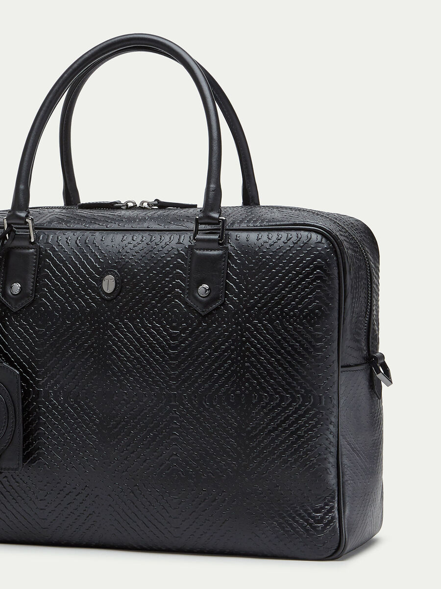 Bubble effect leather overnight bag