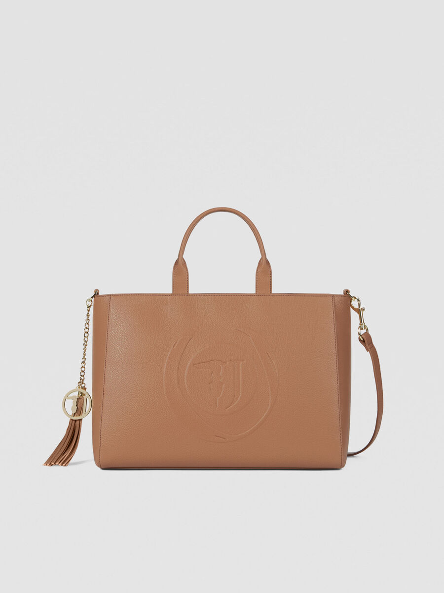 Large Faith shopper in faux leather with logo