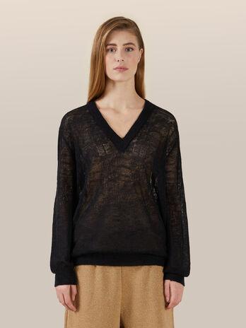 Pullover mit V Ausschnitt aus weichem Mohair