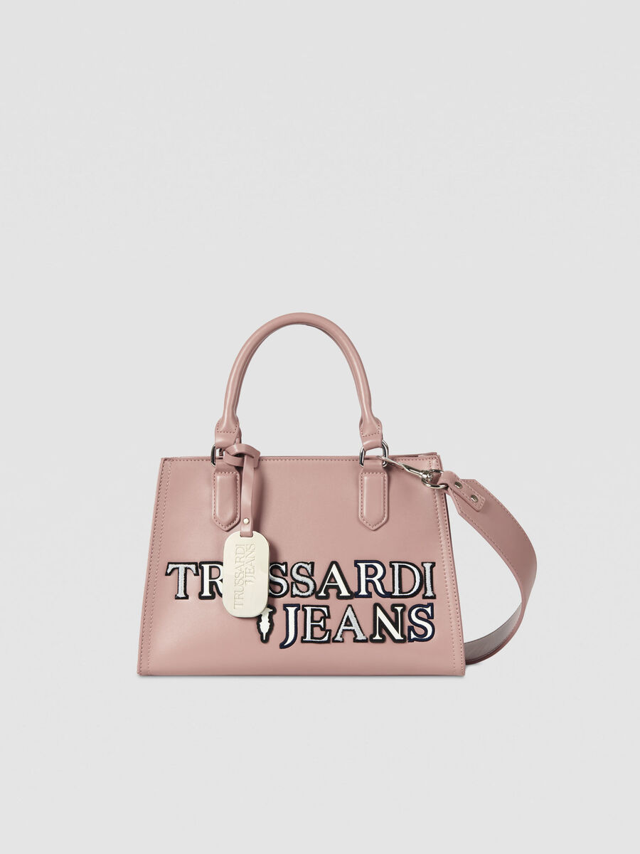 Medium T-Tote tote bag in faux leather with logo