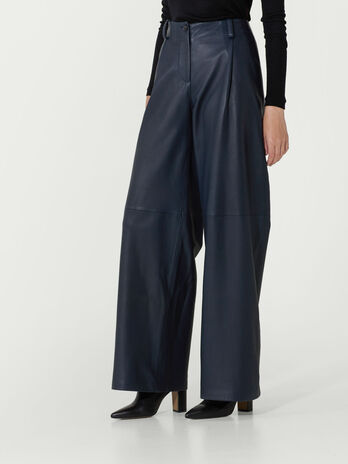 Palazzo trousers in nappa sport