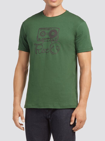 T shirt con stampa musicassetta
