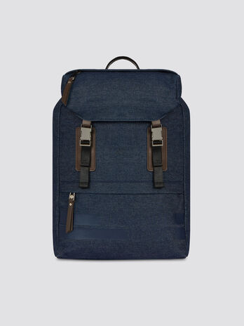 Denim and faux leather Turati medium backpack