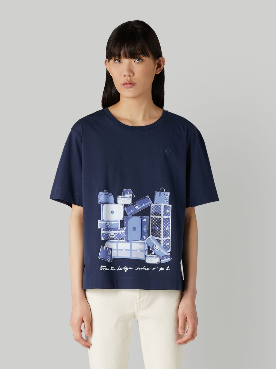 T-shirt over fit in jersey con stampa travel