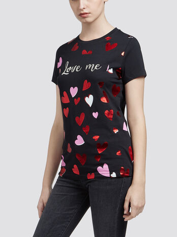 Cotton jersey T shirt with heart details