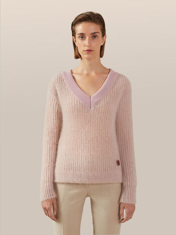 Pullover aus Mohair chine mit V Ausschnitt
