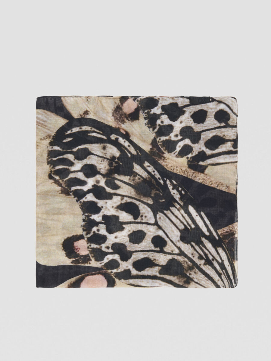 Butterfly-print modal scarf