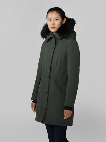 Technical neoprene parka with hood