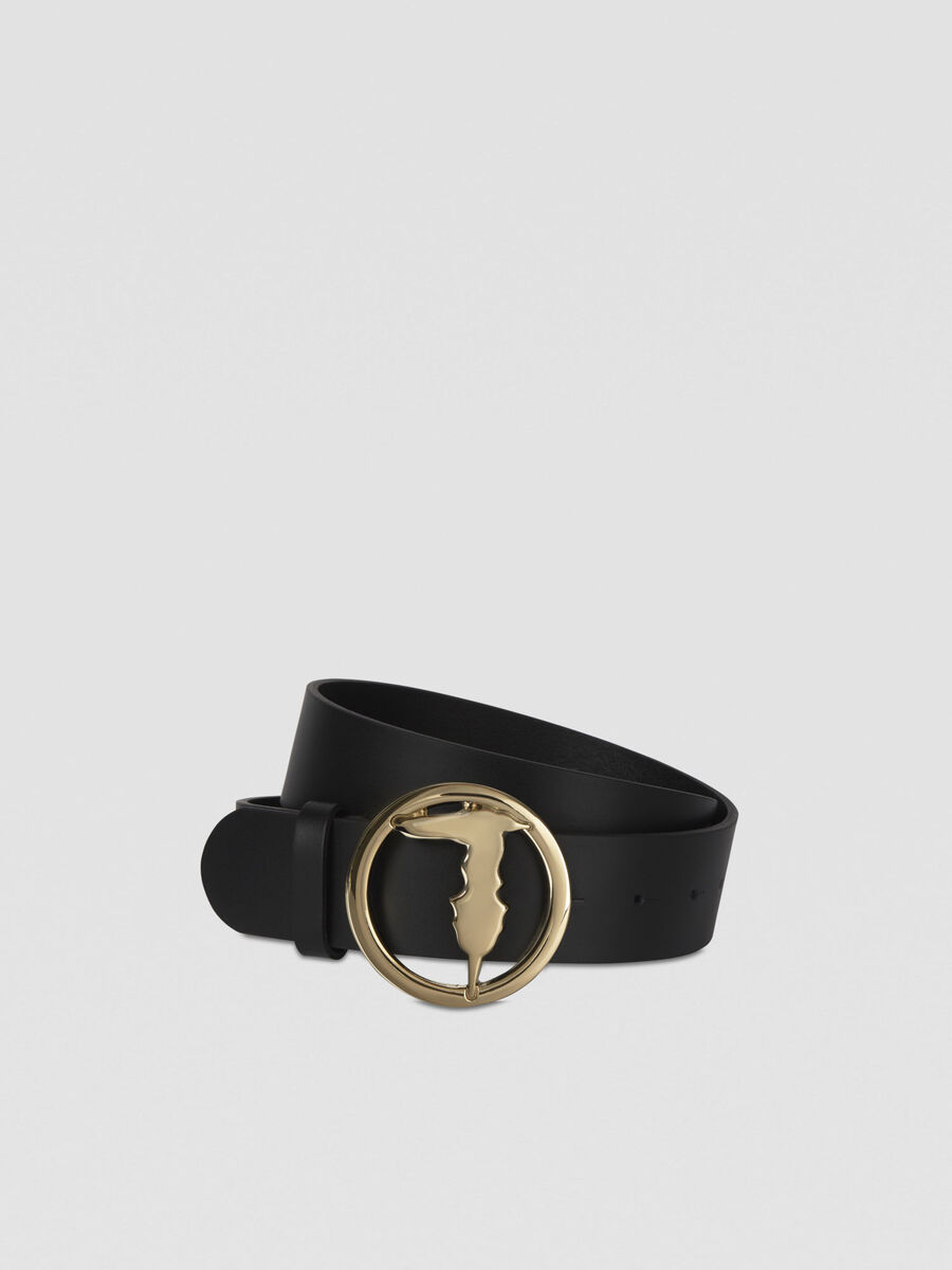 Smooth leather belt with monogram buckle