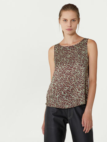 Sleeveless printed viscose blouse