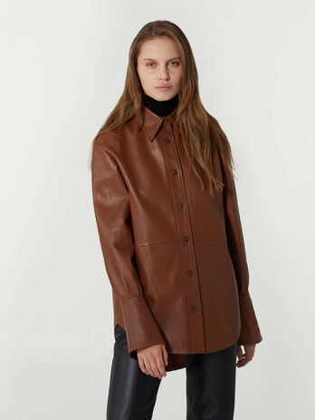Oversized leather shirt