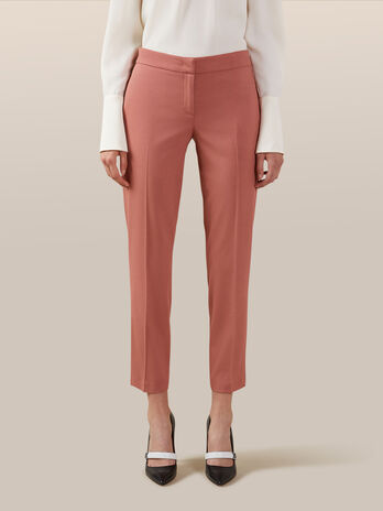 Wool blend stretch twill trousers