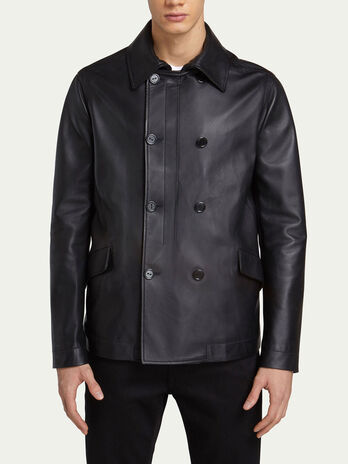 Regular fit pea coat in solid colour leather