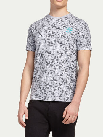 Geometric patterned jersey T shirt