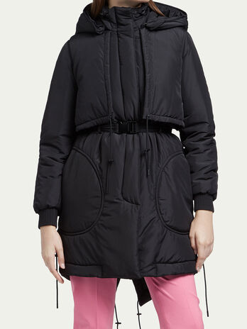 Parka with cape look inserts