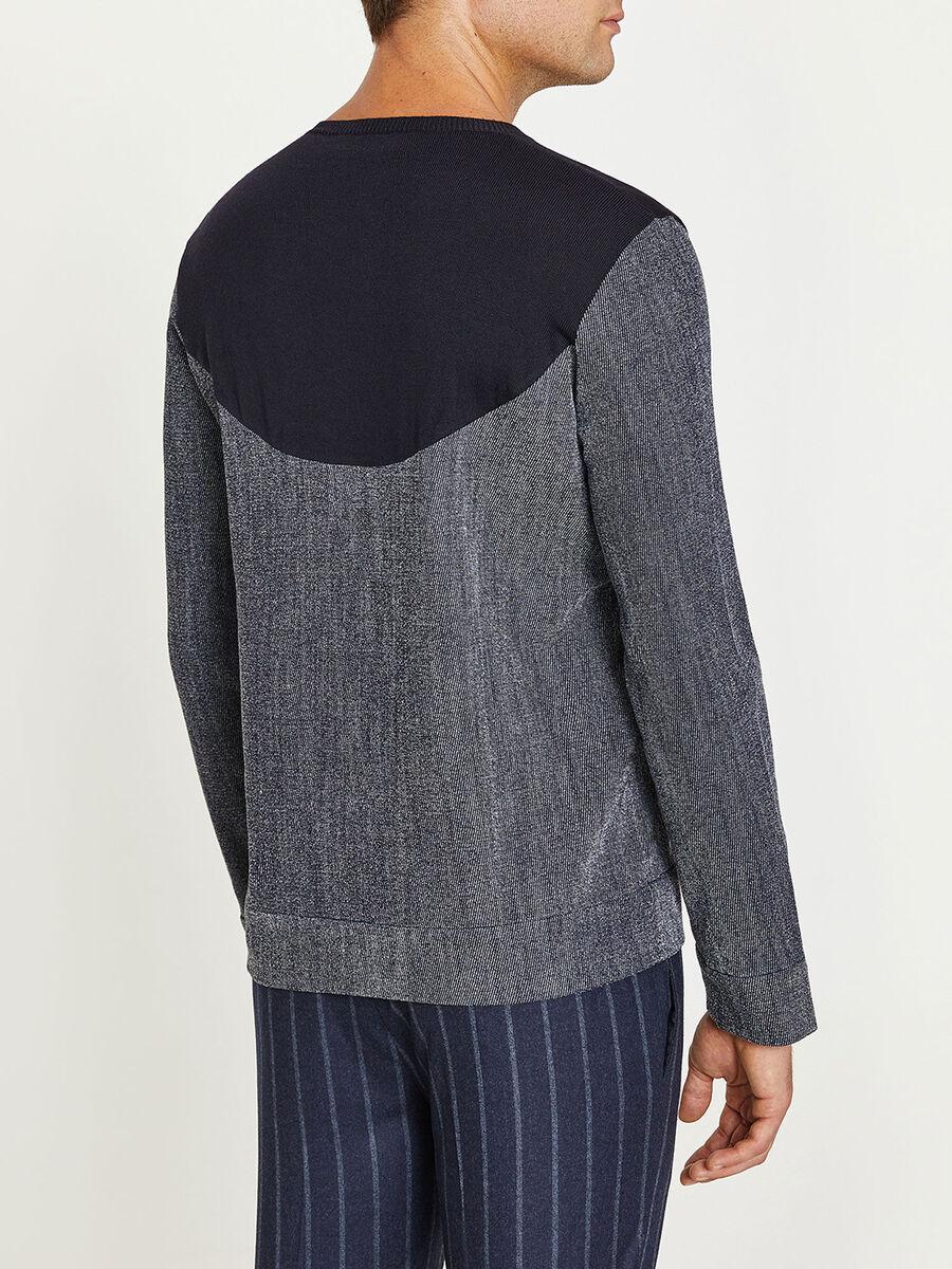 Maglia girocollo in denim e pura lana