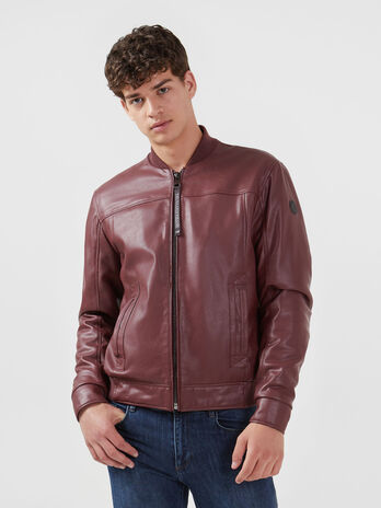 Regular fit faux leather bomber jacket