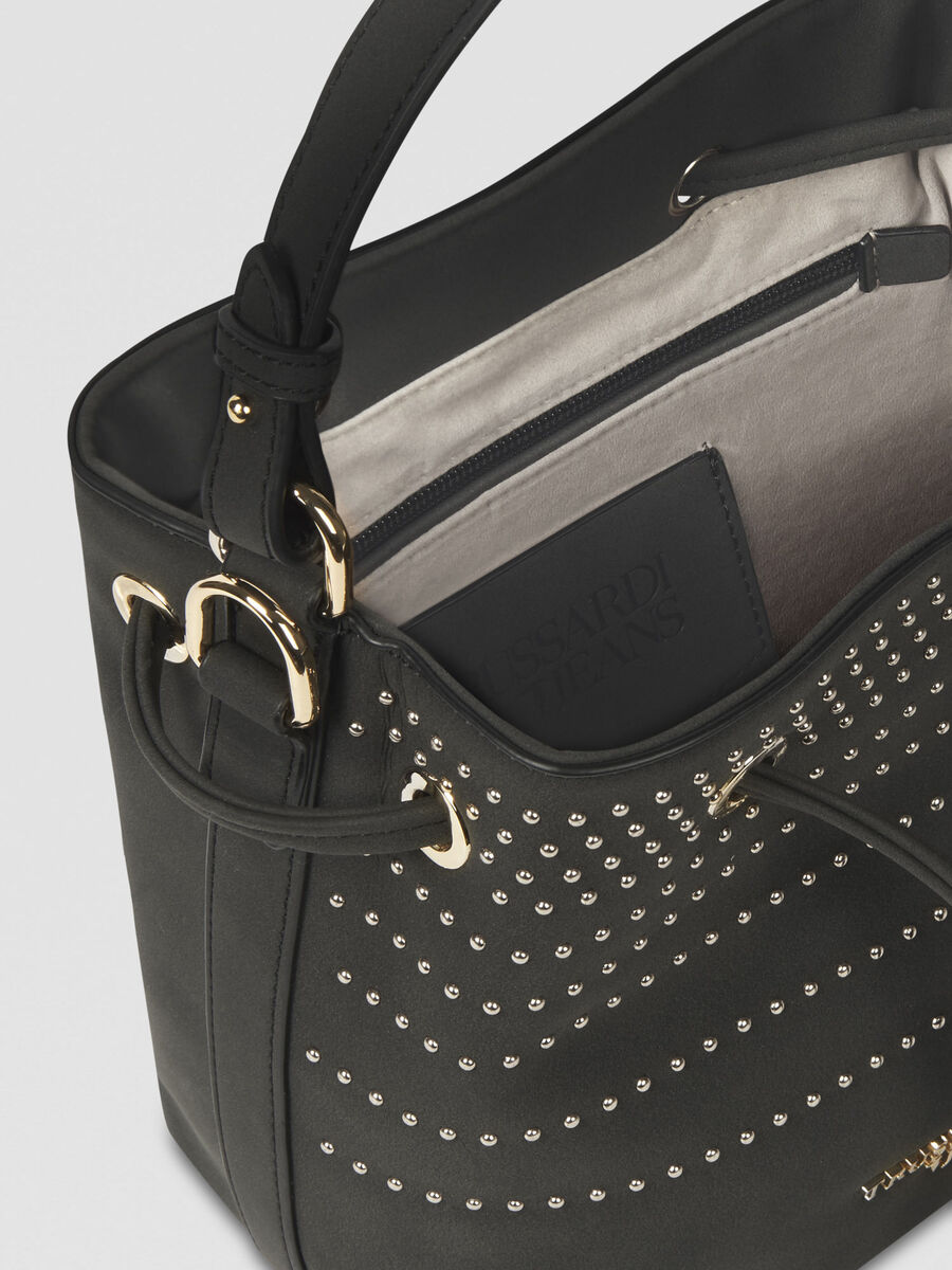 Small Anita bucket bag in studded faux leather