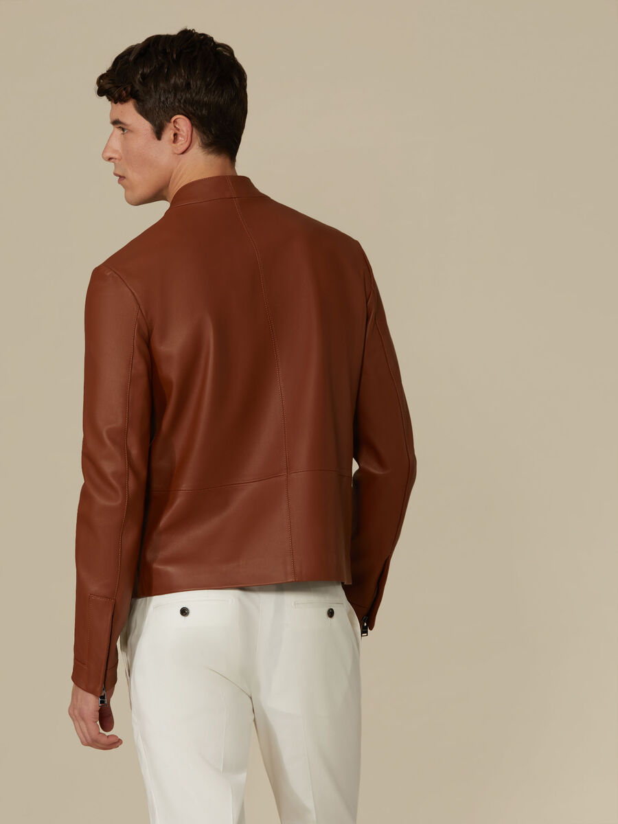 Regular-fit leather biker jacket