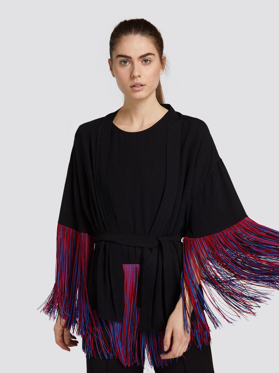 Giacca kimono over fit tinta unita con micro frange