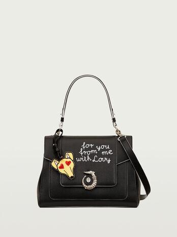 Lovy Bag in crespo pelle con emoticon Levriero