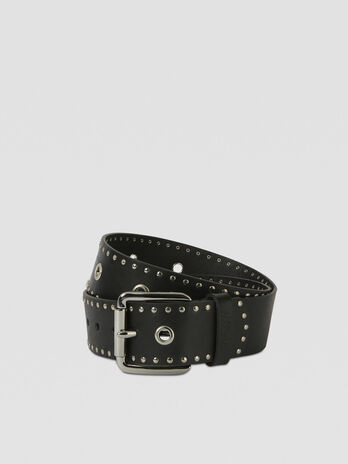 Leather belt with stud details