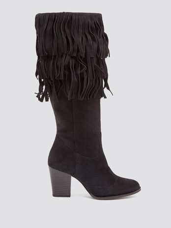 Suede effect boots with fringing