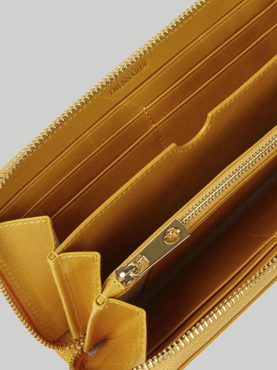 Portefeuille a contour zippe Lovy en cuir