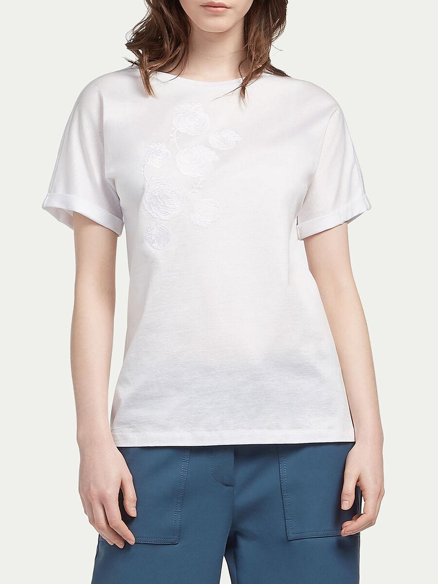 Camiseta de punto con bordados florales
