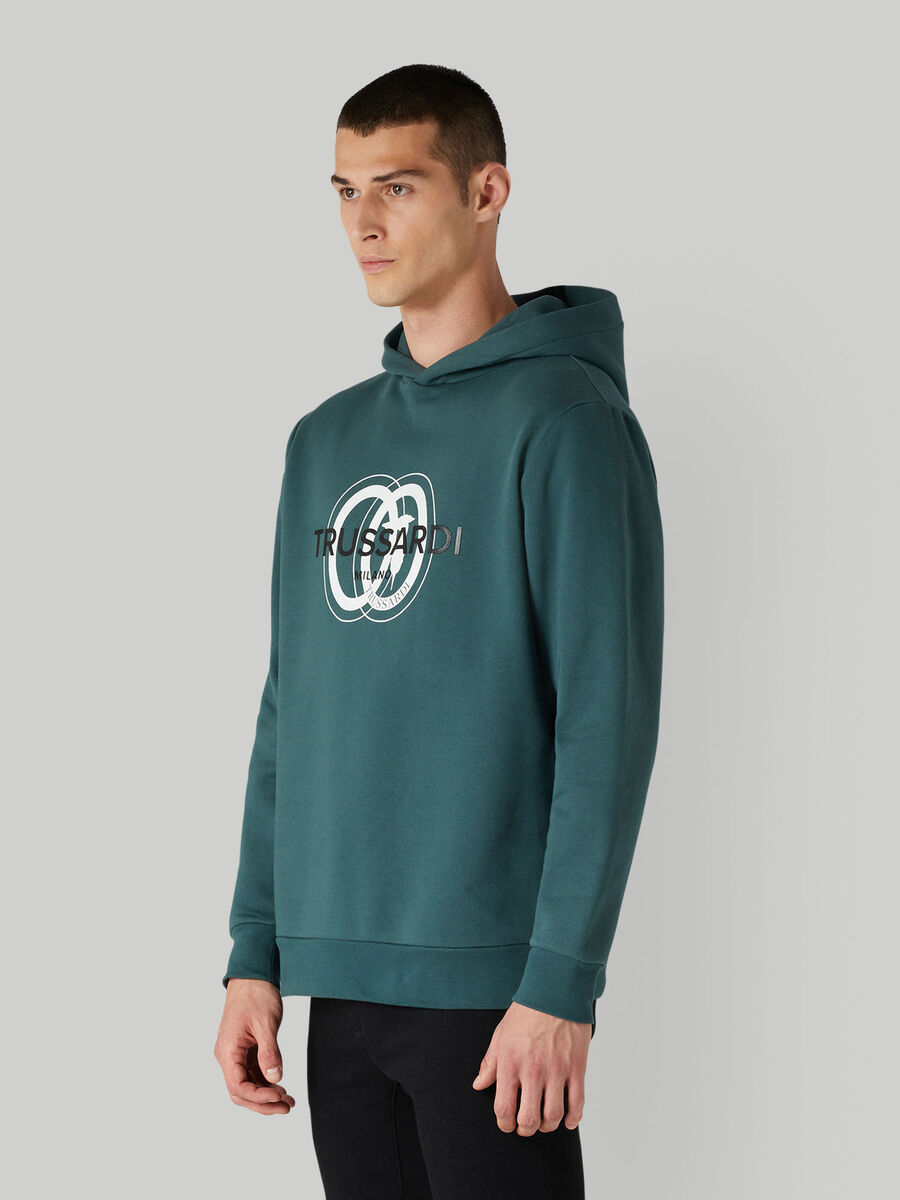 Cotton hoody with logo print