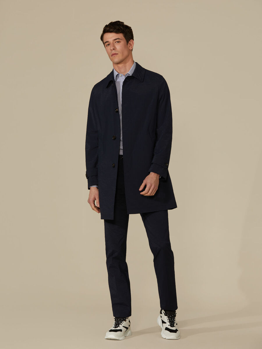 Single-breasted trench coat in technical fabric