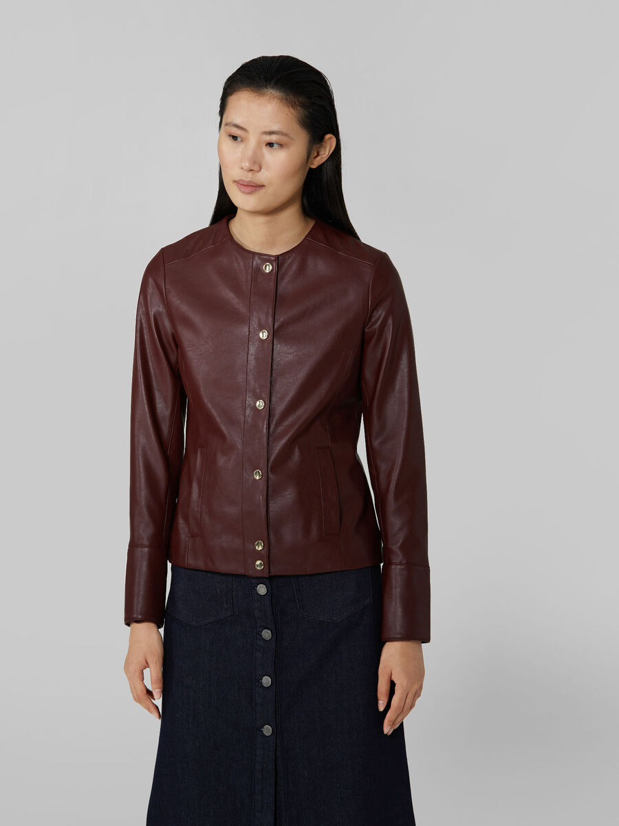 Soft faux leather crew neck jacket