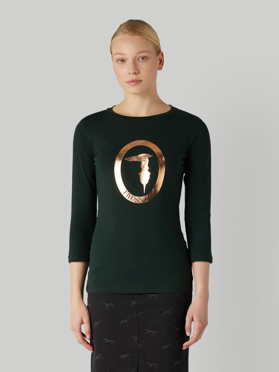 T-shirt in jersey stretch con logo laminato