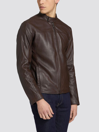 Regular fit biker jacket in soft leather